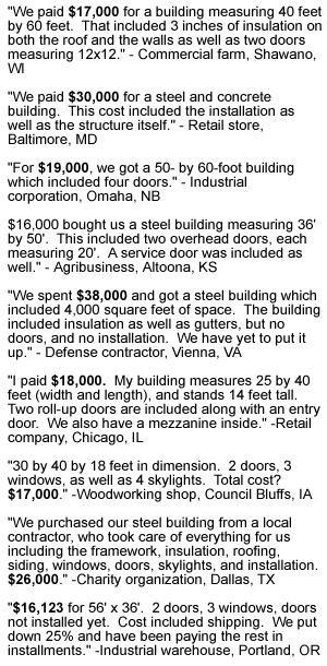 Recent pricing of steel buildings